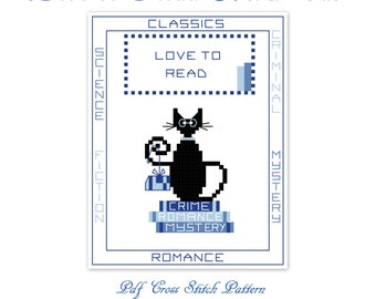 Love to read mini black cat digital cross stitch pattern pdf, cross stitch design, cat cross stitch, black cat cross stitch chart.