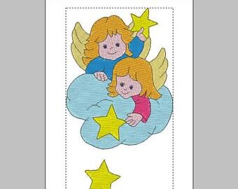 Angeli di Natale machine embroidery design, instant download