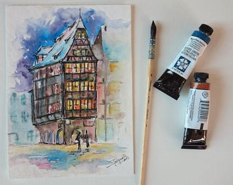Original watercolor of a french house in Alsace in France