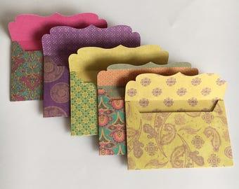 Mini envelopes, handmade envelopes, gift card envelopes