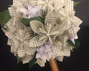 Origami wedding bouquet. Book page blooms. Pearlescent.