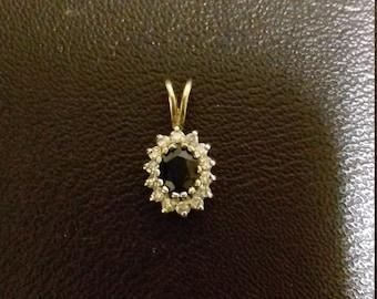 9ct diamond and sapphire pendant