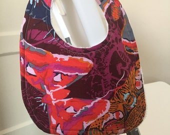 Beautiful butterfly patterned cotton baby bib