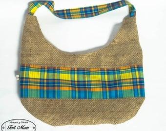 Burlap coffee Madras fabric handbag