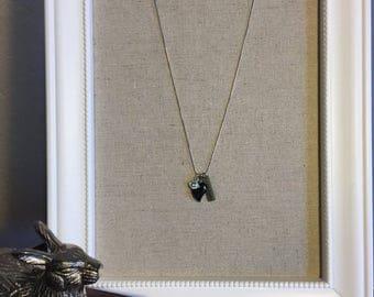 Blue sandstone heart shaped neckalace, with peace charm