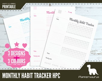 """Monthly habit tracker printable   MAMBI printable   Happy Planner Classic size   7 x 9.25""""   habit tracker   planner tracker template month"""