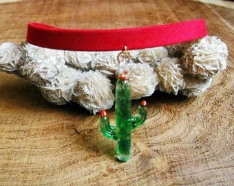 Cactus Necklace - Red Choker - Can't Touch This Necklace - Faux Suede - Bohemian Cactus Choker!