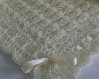 Crochet Baby Blanket / Afghan Ivory Satin Ribbon Baby Shower Gift Baby Girl and Baby Boy Christening Baptism