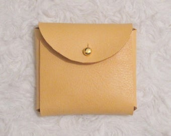 Leather wallet / mini minimalist cover / minimalist leather corner purse pastel yellow