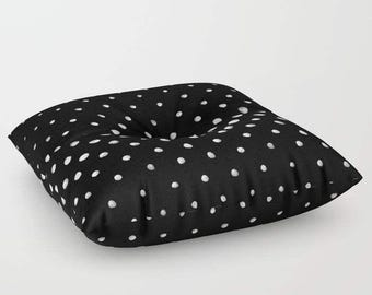 Polka Dot Floor pillow, black and white floor seating, floor cushion, large floor pillow, 26x26, 30x30, 26x26 floor cushion, cushion