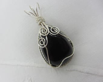 Snowflake Obsidian, Wire-wrapped Pendant