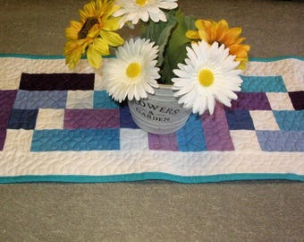 Quilted Table Runner, Handmade,geometric, quilted, table decor, table runner, bright, blue, purple, turquoise