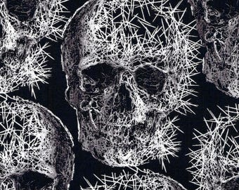 Gothic Spike Freak Out Skulls on Black Cotton Fabric by Michael Miller - FQ
