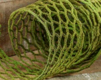 6 Feet of Faux Moss Covered Chicken Wire Ribbon