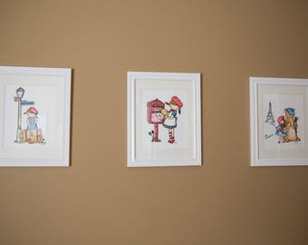 Hand Drawn French Girl Collection - Unframed