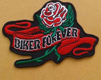 Vintage biker forever with rose embroidered iron on patch.