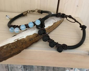 single leather strap with gemstones beads