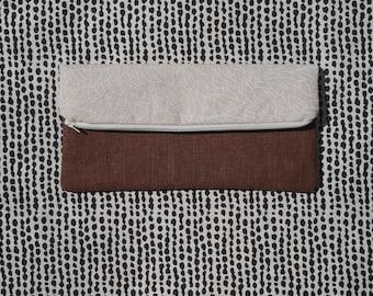 Two Toned Folding Zipper Pouch, Beige Clutch Bag, Fold Over Bag