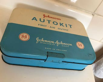 Johnson and Johnson 'Autokit' first aid blue and white tin
