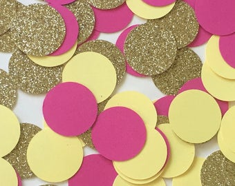 Pink and Yellow Confetti, Pink Lemonade Confetti, Pink Lemonade Party, Summer Confetti, Bridal Shower Decorations, bachelorette party