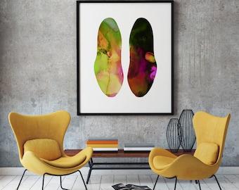 Shoes Print Art Poster Footwear Illustration Home Decor
