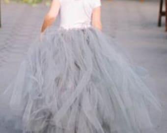 Christmas wedding tutu, tulle skirt,  flower girl tutu, bridesmaid tutu, party's birthdays tutu, floor length tutu, ballet tutu