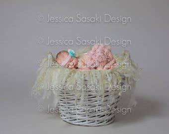 Digital background Newborn composing basket, fur, instant download