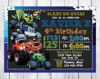 Blaze and the Monster Machines Invitation, Blaze and the Monster Machines Birthday, Invite, Party, Card, Printables, Custom, Evite