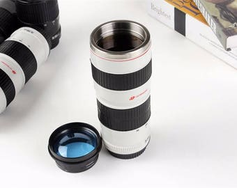 450ML Camera Len Mug Stainless Steel Lens Special Lid Caniam Coffee Cup
