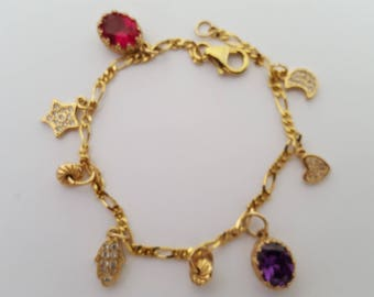 14 karat  gold filled charm bracelet