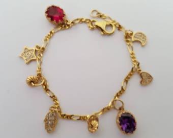 14 karat  gold filled charm bracelet