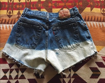 Dip dye bleached Levi's high waisted shorts