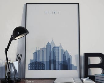 Atlanta Art Atlanta Watercolor Atlanta Multicolor Atlanta Wall Art Atlanta Wall Decor Atlanta Home Decor Atlanta City Atlanta Skyline