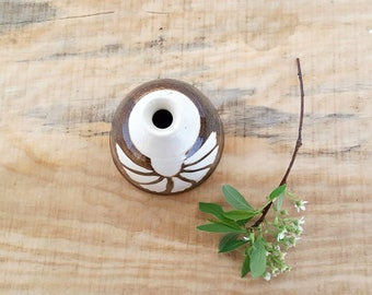 vintage ceramic bud vase | brown and white ceramic vessel | small handmade pottery vase