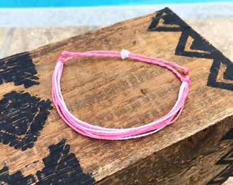Pink Multi Basic Stackable Bracelet, Wax String Bracelet, Friendship Bracelet, Waterproof Bracelet