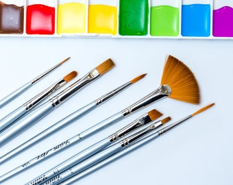 Paint Brush Set - Artist Quality Paint Brushes -    Watercolor/Gouache, Acrylic Painting, Face Painting, Crafts and Hobbies, Model Painting