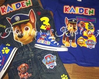 Paw Patrol custom birthday outfit, Paw patrol shirt, Paw patrol jacket, Paw Patrol shoes, Paw patrol birthday