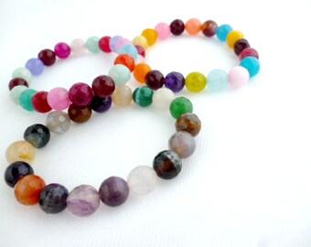Natural Facetted Colorful Agate Braceles/ Chackras Stone Unisex Bracelet pack 1 pcs