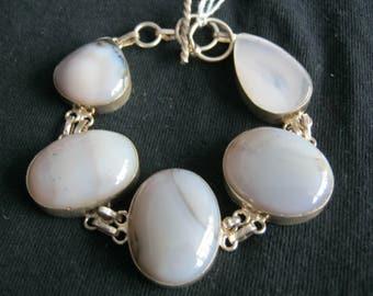 Botswana Agate Bracelet 925 silver 8 to 9 in