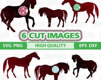 Horse Monogram Svg, Horse Svg Files, Horse Clip Art, Horse Silhouette, Digital Cut Files, Svg File For Cricut, Silhouette Cameo Files, Eps