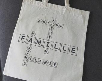 Tote bag SCRABBLE version family custom