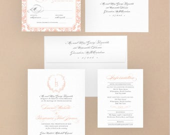 Digital OR Printed Wedding Invitation Suite // The LAUREL COLLECTION // Script, Classic, Black & White, Traditional