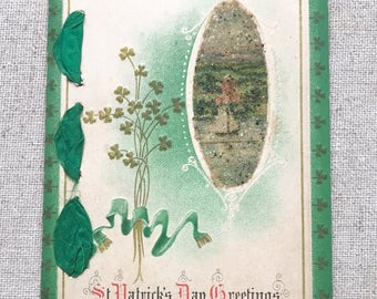 Antique St. Patrick's Day Postcard Vintage St. Patty's Day Card Shamrocks Clovers Ireland Irish Glitter Paper Ribbon Green Embossed