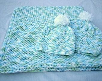 Knit Baby Set Pattern PDF/ Baby Blanket Hat Knitting Pattern/ Instant Download/ Baby Shower Gift DIY