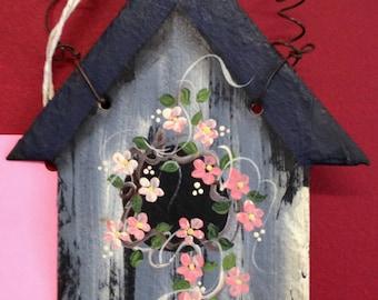 OOAK Hand-painted Slate Birdhouse Plaque