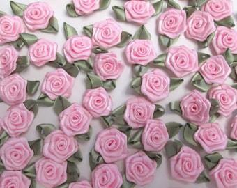 50 light pink satin ribbon roses craft supply crazy quilt trim satin flowers bulk ribbon roses set of 50