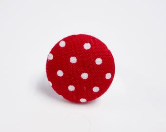 Red polka dot fabric button ring covered button ring adjustable ring gift for her