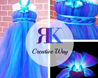 Orchid Inspired Tutu Dress from Tutu Fairy. Turquoise, Blue, and Purple Princess Tutu Dress. Flower girl tutu dress. Birthday Tutu Dress