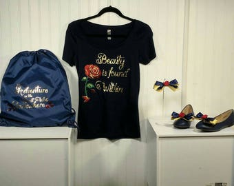 Belle beauty is found within shirt and accessories set. Disney. Belle. Rose.