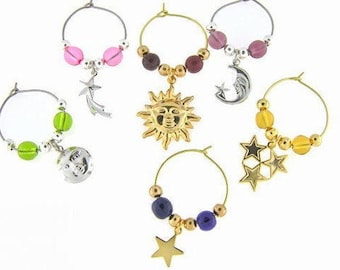 Celestial Drink Charms, Wine Glass Charms